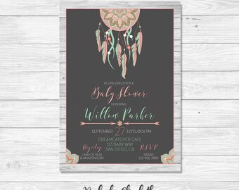 Bohemian Bridal Shower, Dreamcatcher Bridal Shower, Dreamcatcher Invitation, Boho Invite *DIGITAL FILE*