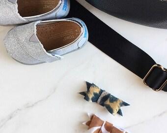Baby Girl Handmade Felt Bow, Felt Bow, animal print, Alligator Clip, hair accessories, set of 2
