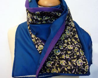 Teal, black and purple patterned silk and cotton scarf