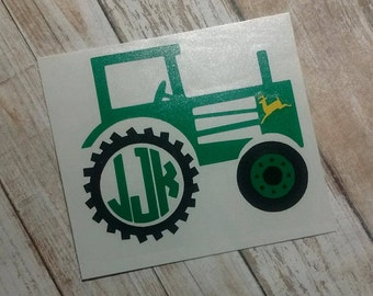 Tractor Decal/Tractor Monogram/ Monogram/Decal/ Vinyl Decal/Country Monogram/Tractor Sticker/Yeti Cup Decal/Farmers Decal/Sticker