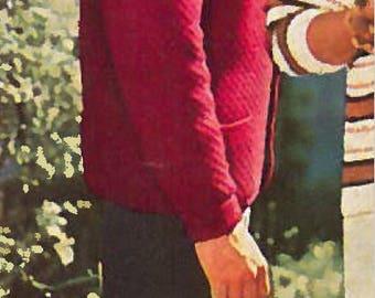 Vintage Men's Double Buttoned Jacket Knitting Pattern PDF 1958