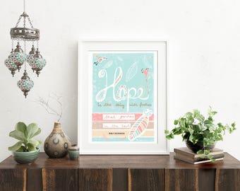 Boho Art Print, Illustration, Typography Print, Poetry Print, Inspirational Print, Emily Dickinson Art Print, Wall Decor, Feather Print