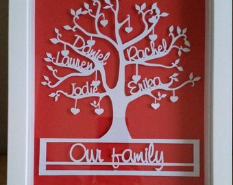 Personalised Family Tree Framed Papercut, Custom Family Tree, Personalised Gift, Family Tree Gift, Family Tree Frame, Family Name