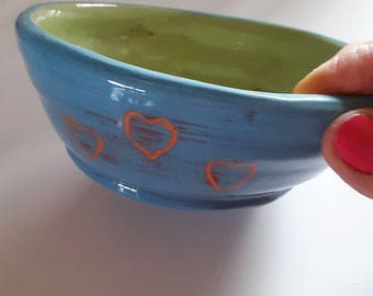 Turquoise ceramic bowl hand-made/cut ceramic blue / gift MOM/pottery de France / Deco blue turquoise/bowl/saucer ceramic