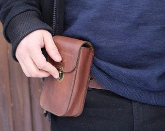 Leather Belt bag / Leather fanny pack / Brown Hip Bag / Belt Bag /Leather festival bag / Waist bag / mens brown leather belt