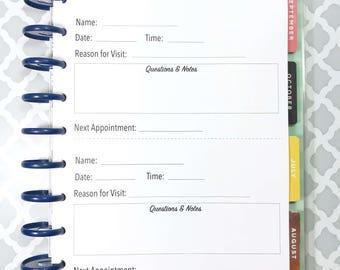 Doctor Visit Tracker, Visit Log, Doctor Notes, Doctor Visit Inserts for Medium, Classic Happy Planner, Discbound Planner