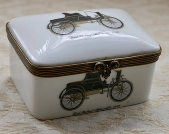 China Trinket Box, Paris Porcelain, Gifts From France, Vintage Automobile, French China, Metal Edged Box, Gift For Her, Jewelry Storage