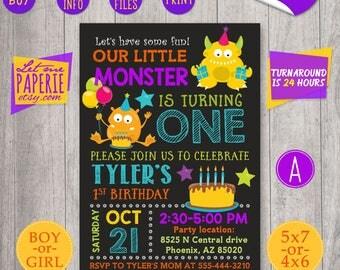 Monster Birthday Invitation, Little Monster Invitation, Monster 1st birthday invitation, Monster Invite, Monster party, Birthday invite card