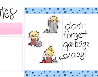 Otterly Adorable-- Cute Otter Garbage Day| Trash Day| Take Out the Trash!| Planner Stickers (O9)