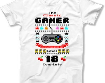 18th Birthday Shirt Gaming T Shirt Geek Clothing Bday Gift Ideas For Him Custom Age The Classic Gamer Level 18 Complete Mens Tee DAT-1403