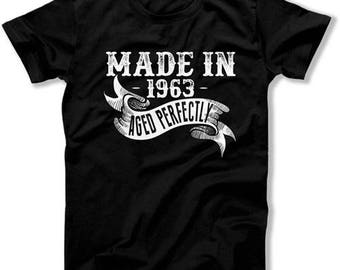 Funny Birthday T Shirt Personalized Birthday Gift Ideas For Him 55th Birthday Shirt Made In 1963 Aged Perfectly Mens Ladies Tee DAT-1153