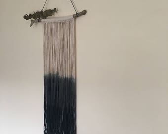 Ombre black dip dye macrame yarn driftwood wall hanging monochrome