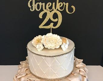 Forever 29 Cake Topper, 30th Birthday cake topper