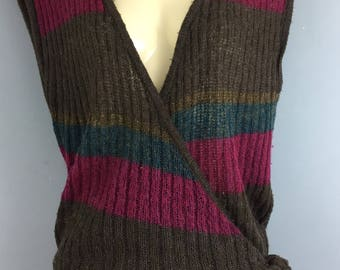 Vintage WALLIS mohair blend striped wrap sleeveless jumper tank top 12/14