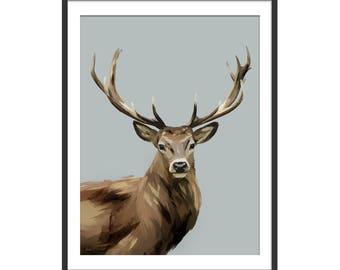 Deer Print. Stag Print. Deer Painting. Deer Gifts. Woodland Animals Painting. Wall Decor