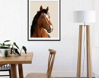Horse Print. Gift for Horse Lover. Horse Painting by Green Lili. Wall Art. Gift. Wall Decor