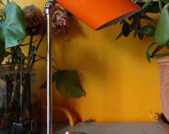 mid century orange metal desk lamp and articulated foot - Orange desk lamp ' 50'