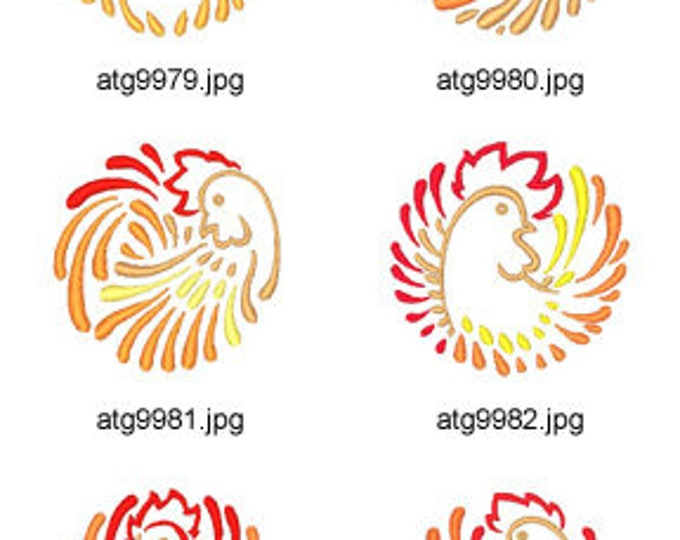 Rooster-Circles  ( 10 Machine Embroidery Designs from ATW ) XYZ17E