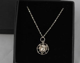 Sterling Silver Spider Necklace, Spider on Web Pendant, Sterling Silver Pendant Necklace, Halloween Necklace, Spider Pendant