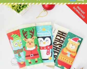 Christmas Chocolate Bar Wrapper DIY |  Favors Candy Wrap | Winter Holiday Party Animal | INSTANT DOWNLOAD | Digital Printable