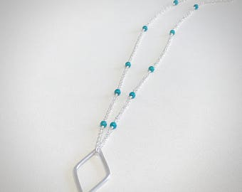 Turquoise Diamond Pendant Necklace - Sterling Silver - Silver Pendant - Turquoise Beads - Modern Bohemian Jewelry - Long Necklace