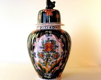 Tichelaar Makkum Vase / Jar / Lidded Vase / Foo Dog Vase / Ginger Jar / Polychrome / Delft / Hand Painted / Covered Cabinet Vase / Holland