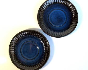 "60s / Gefle Sweden / Plates / Saucer Plates / Pair / Kosmos / Berit Ternell / Art Pottery / Cobalt Blue / Stoneware / Modern/ Mint / 6 1/2 """