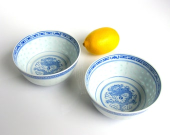 Chinese / Rice Grain Translucent Bowl Set / Set of Two / Hand Painted Porcelain / Soup Bowls / Blue & White / Rice Grain/ Rice Eye Porcelain
