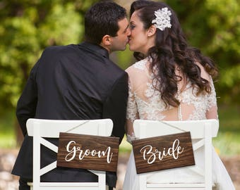 Bride and Groom signs, wooden wedding signs, hanging chair signs, head table decor, wedding photo props, wedding chair sign, wedding signge
