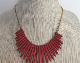 Stone Necklace | Red Stone Spike Necklace | Statement Necklace | Red Necklace | Boho Spike Necklace | Handmade Jewelry