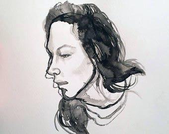 """This Week 9""""x12"""" ink painting (Original)"""