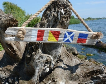 Custom Nautical Flag Driftwood Wall Decor - Handmade