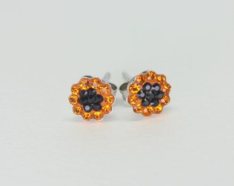 Sterling Silver Stud Earrings, Swarovsky Crystals, 7mm Flower, Sun And Jet Hema Color, Unique BlingBling Korean Style