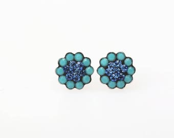 Sterling Silver Pave Radiance Stud Earrings, Swarovsky Crystals, 7mm Flower, Turquoise and Sappire Color, Unique BlingBling Korean Style