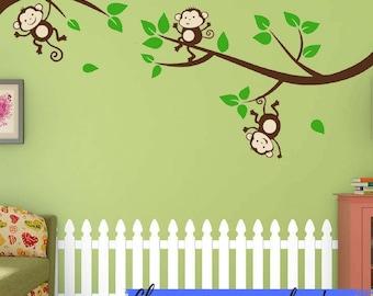 Monkey Wall Decal Etsy - Nursery wall decals jungle