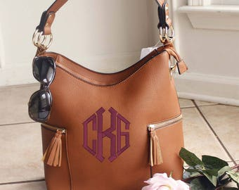Monogrammed Double Tassel pocket Brown hobo bag -The Morgan