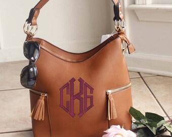 Monogrammed Double Tassel pocket Brown hobo bag -The Morgan