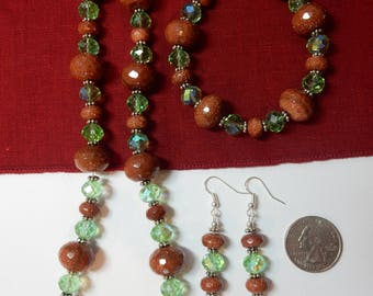 Beautiful Earth-Tone Green and Brown Handmade Jewelry Set Made with Goldstone