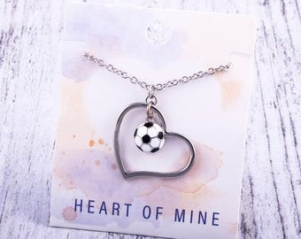 Customizable! Heart of Mine: Soccer Enamel Necklace - Great Soccer Gift!