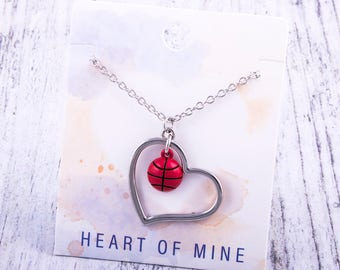 Customizable! Heart of Mine: Basketball Enamel Necklace - Great Basketball Gift!