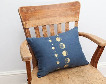 Navy Moon Pillow, Navy, Moon Pillow, Moon Decor, Navy Gold, Throw Pillow, Home Decor, Bolster Pillow, Linen Pillow, Decorative Pillow