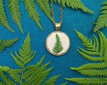 Green Fern Pendant// Hand Embroidered Jewelry // Silk Embroidery