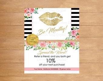 LipSense be mouthy referral card, referral flyers, be mouthy card, lipsense, lipsense gold, floral, gold lips