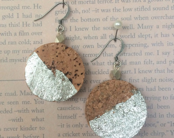 Silver-Leaf Champagne Cork Earring