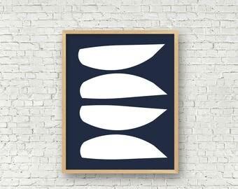 Navy Abstract Modern Art Mid century modern art print digital art print instant download 11x14 and 16x20 wall art printable navy modern art