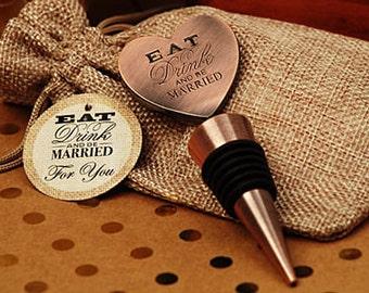 Vintage Heart Wine Bottle stopper - Vintage copper wine stopper - Eat Drink Be Married
