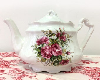 Vintage Arthur Wood and Son, earthenware, off white, Roses teapot, 6249, gilded trims