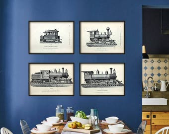 Steam Locomotive Print - Vintage Locomotive Poster - Vintage Train Wall Art Print - Railway Wall Art - Transport Print - Transport Poster