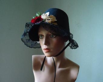 Vintage costume felt bonnet - old hat - Costume bonnet - Female costume hat - Vintage Sunbonnet, British costume hat, Victorian costume hat