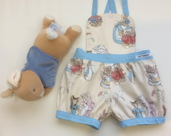 Toddler Romper, Size 12-18 Months, Peter Rabbit Fabric, Vintage Style Romper, Overalls, Toddler Outfit, Boy Romper, Girl Romper, Playsuit